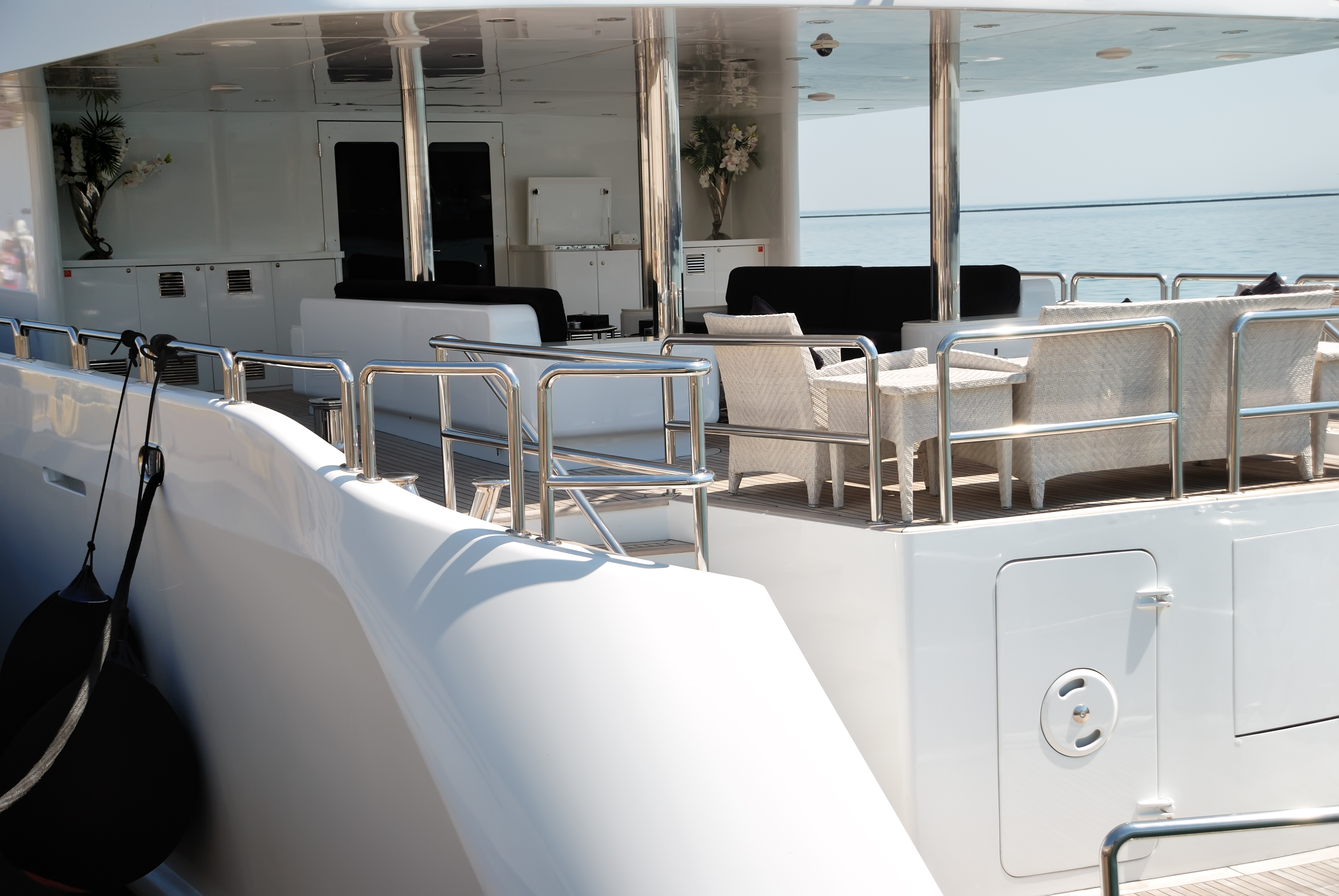 Interior of white yachts on an anchor in harbour